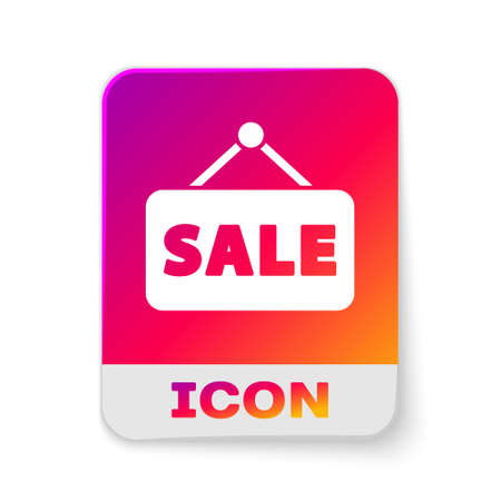 White Hanging sign with text Sale icon isolated on white background. Signboard with text Sale. Rectangle color button. Vector Illustration