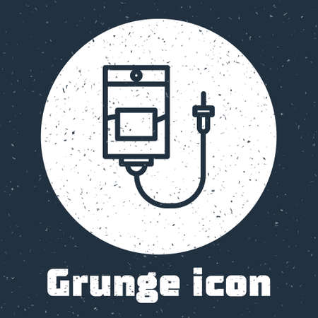 Grunge line IV bag icon isolated on grey background. Blood bag. Donate blood concept. The concept of treatment and therapy, chemotherapy. Monochrome vintage drawing. Vector Illustration Illustration