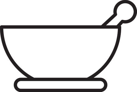 Black line Mortar and pestle icon isolated on white background. Vector Illustration