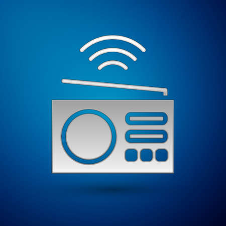 Silver Smart radio system icon isolated on blue background. Internet of things concept with wireless connection. Vector