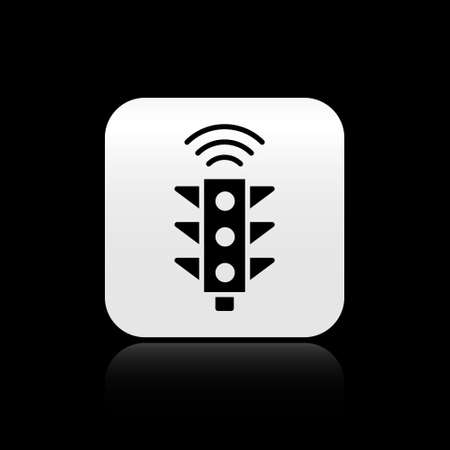 Black Smart traffic light system icon isolated on black background. Internet of things concept with wireless connection. Silver square button. Vector