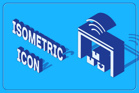 Isometric Smart warehouse system icon isolated on blue background. Vector