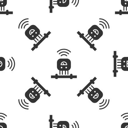 Grey Smart sensor system icon isolated seamless pattern on white background. Internet of things concept with wireless connection. Vector