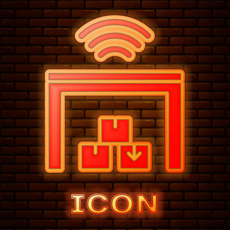 Glowing neon Smart warehouse system icon isolated on brick wall background. Vector Vectores