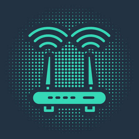 Green Router and wifi signal icon isolated on blue background. Wireless modem router. Computer technology internet. Abstract circle random dots. Vector