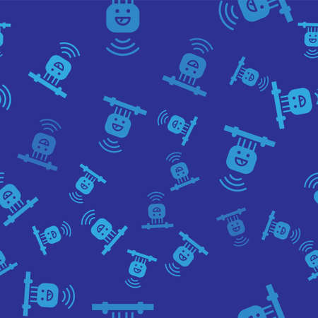 Blue Smart sensor system icon isolated seamless pattern on blue background. Internet of things concept with wireless connection. Vector 矢量图像