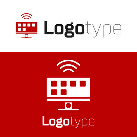 Red Smart Tv system icon isolated on white background. Television sign. Internet of things concept with wireless connection. design template element. Vector Ilustrace
