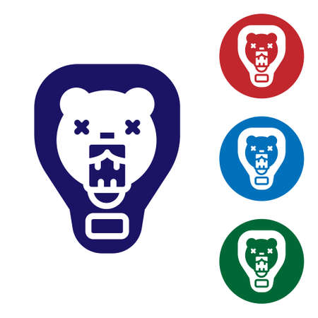 Blue Bear head on shield icon isolated on white background. Hunting trophy on wall. Set icons in color square buttons. Vector 일러스트