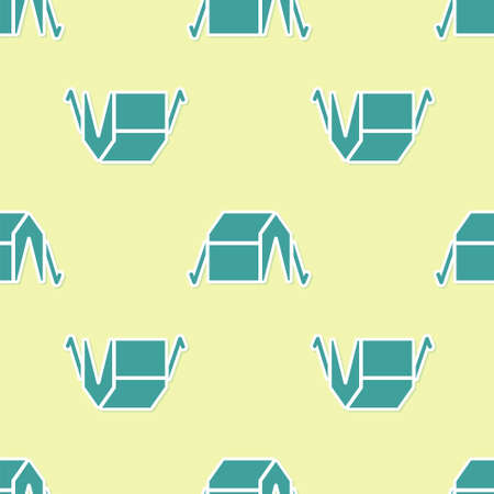 Green Tourist tent icon isolated seamless pattern on yellow background. Camping symbol. Vector
