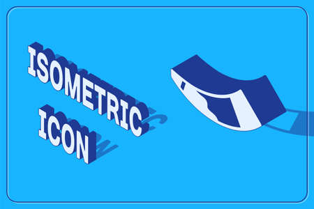 Isometric Hunting horn icon isolated on blue background. Vector
