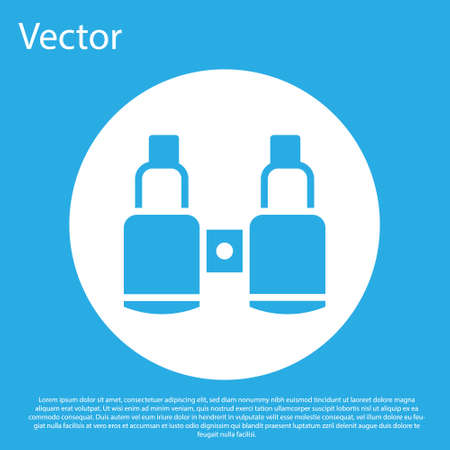 Blue Binoculars icon isolated on blue background. Find software sign. Spy equipment symbol. White circle button. Vector