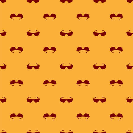 Red Glasses icon isolated seamless pattern on brown background. Eyeglass frame symbol. Vector