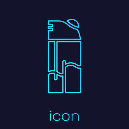 Turquoise line Lighter icon isolated on blue background. Vector 向量圖像