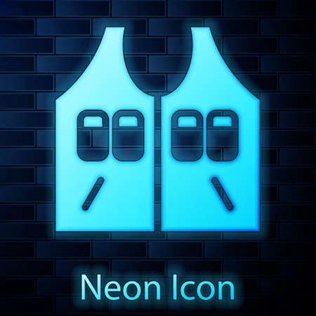 Glowing neon Hunting jacket icon isolated on brick wall background. Hunting vest. Vector Illusztráció