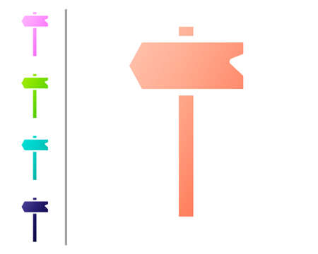 Coral Road traffic sign. Signpost icon isolated on white background. Pointer symbol. Isolated street information sign. Direction sign. Set color icons. Vector