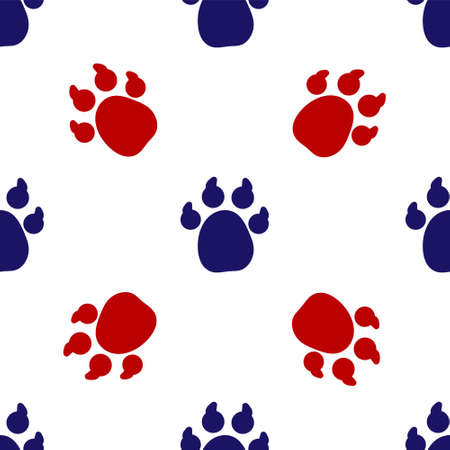 Blue and red Paw print icon isolated seamless pattern on white background. Dog or cat paw print. Animal track. Vector 矢量图像