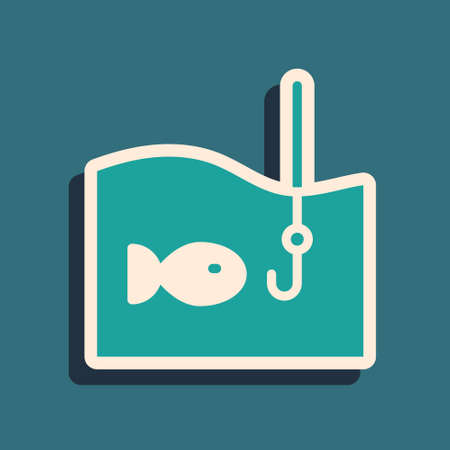 Green Fishing hook under water with fish icon isolated on green background. Fishing tackle. Long shadow style. Vector