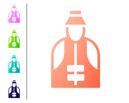 Coral Fisherman icon isolated on white background. Set color icons. Vector Illusztráció