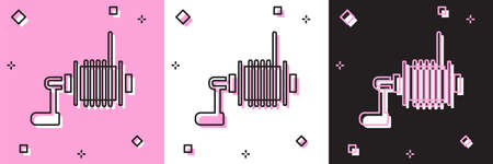 Set Spinning reel for fishing icon isolated on pink and white, black background. Fishing coil. Fishing tackle. Vector Illusztráció