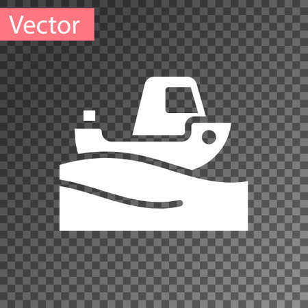 White Fishing boat on water icon isolated on transparent background. Vector