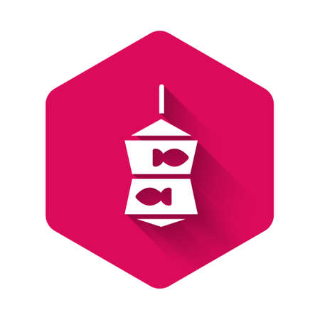 White Fishing net with fish icon isolated with long shadow. Pink hexagon button. Vector