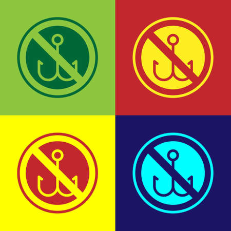 Pop art No fishing icon isolated on color background. Prohibition sign. Vector