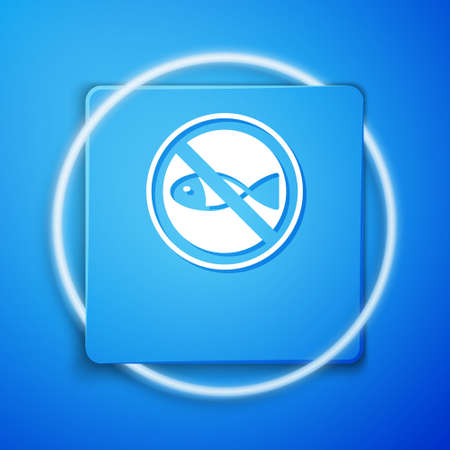 White No fishing icon isolated on blue background. Prohibition sign. Blue square button. Vector Illusztráció