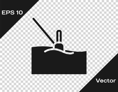 Black Fishing float in water icon isolated on transparent background. Fishing tackle. Vector
