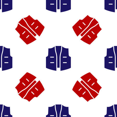 Blue and red Fishing jacket icon isolated seamless pattern on white background. Fishing vest. Vector