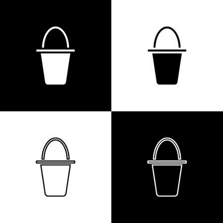 Set Fishing bucket icon isolated on black and white background. Fish in a bucket. Vector Illusztráció