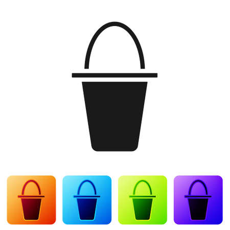 Black Fishing bucket icon isolated on white background. Fish in a bucket. Set icons in color square buttons. Vector