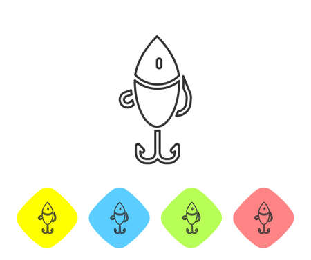 Grey line Fishing lure icon isolated on white background. Fishing tackle. Set icons in color rhombus buttons. Vector Illustration
