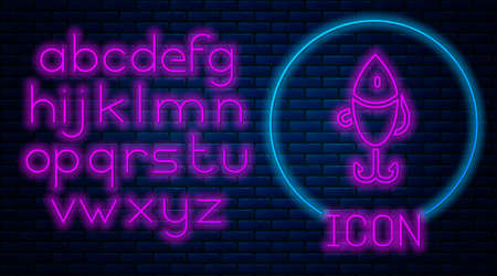 Glowing neon Fishing lure icon isolated on brick wall background. Fishing tackle. Neon light alphabet. Vector