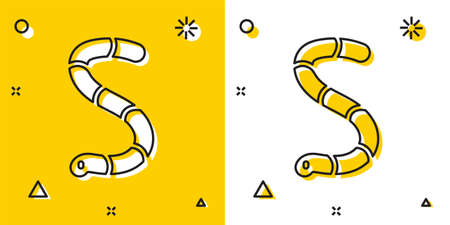 Black Worm icon isolated on yellow and white background. Fishing tackle. Random dynamic shapes. Vector
