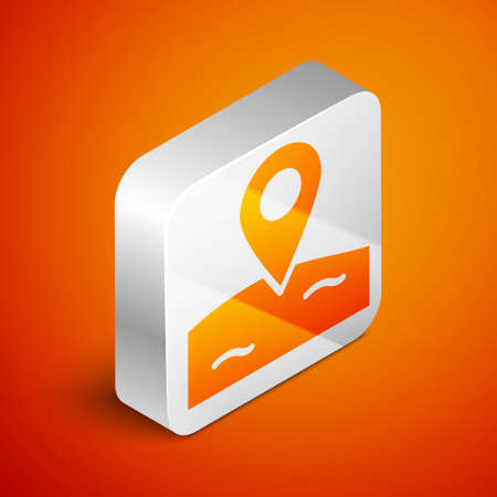 Isometric Location fishing icon isolated on orange background. Fishing place. Silver square button. Vector