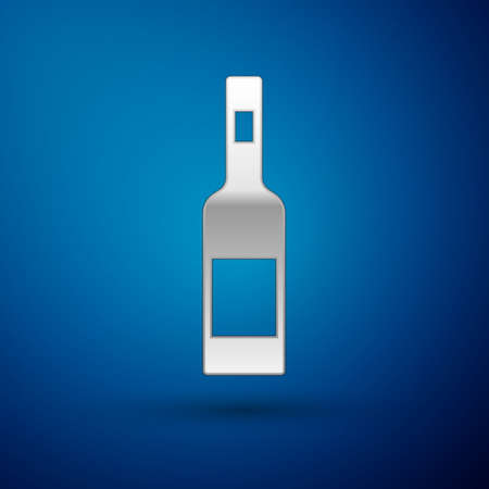 Silver Glass bottle of vodka icon isolated on blue background. Vector 矢量图像