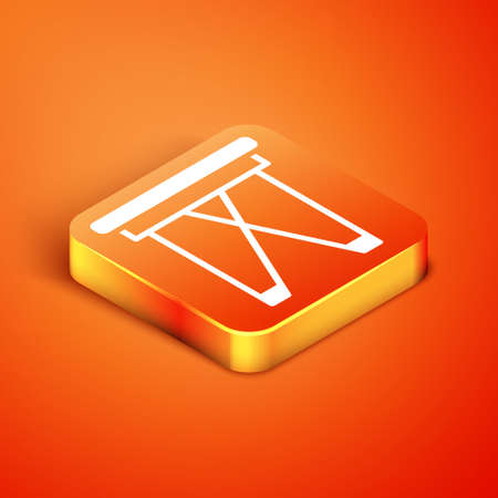 Isometric Camping portable folding chair icon isolated on orange background. Rest and relax equipment. Fishing seat. Vector