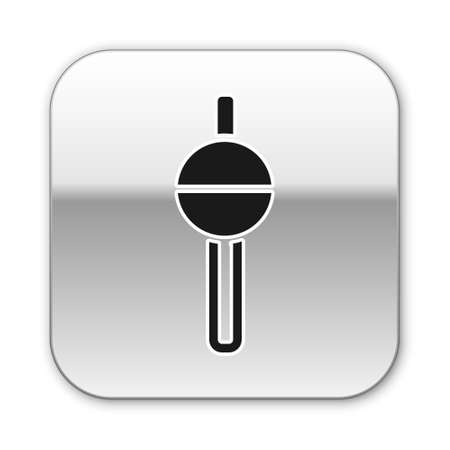 Black Fishing float icon isolated on white background. Fishing tackle. Silver square button. Vector