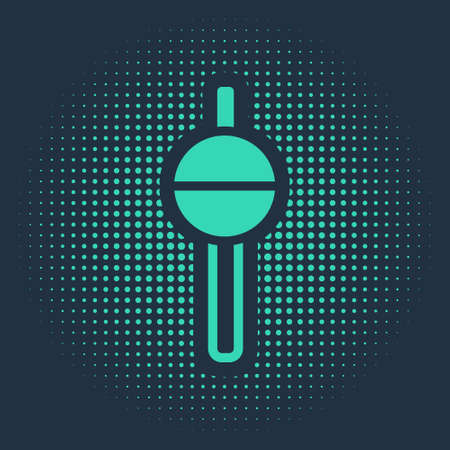 Green Fishing float icon isolated on blue background. Fishing tackle. Abstract circle random dots. Vector