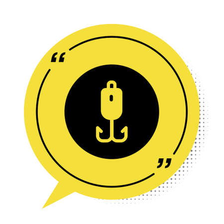 Black Fishing hook icon isolated on white background. Fishing tackle. Yellow speech bubble symbol. Vector