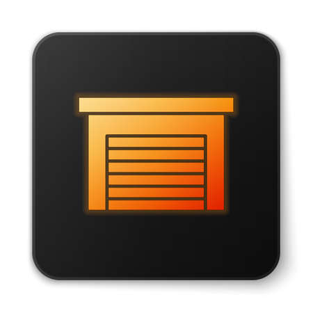 Orange glowing neon Garage icon isolated on white background. Black square button. Vector