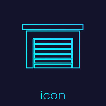 Turquoise line Garage icon isolated on blue background. Vector