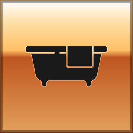 Black Bathtub icon isolated on gold background. Vector Vectores