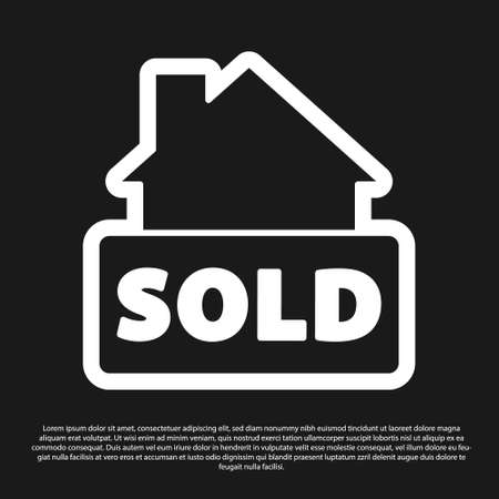 Black Hanging sign with text Sold icon isolated on black background. Sold sticker. Sold signboard. Vector