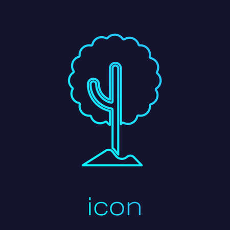 Turquoise line Tree icon isolated on blue background. Forest symbol. Vector