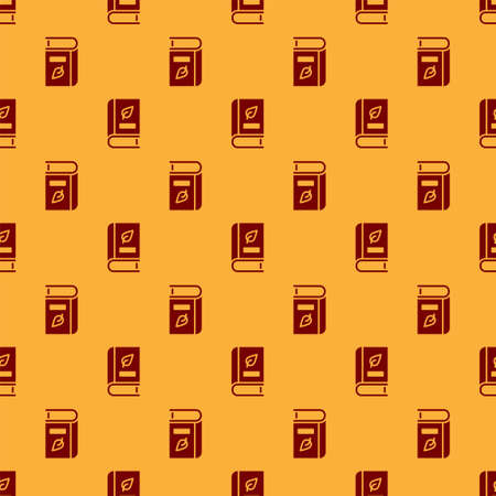 Red Medical book with leaf icon isolated seamless pattern on brown background. Vector 矢量图像