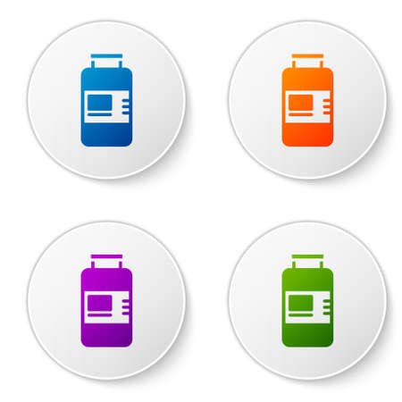Color Collagen serum and vitamin icon isolated on white background. Facial treatment essence skin care cosmetic. Set icons in circle buttons. Vector 일러스트