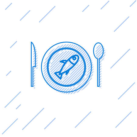 Blue line Served fish on a plate icon isolated on white background. Vector.