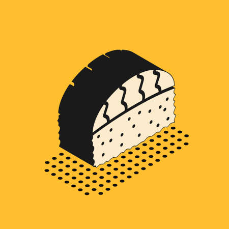 Isometric Sushi icon isolated on yellow background. Traditional Japanese food. Vector.