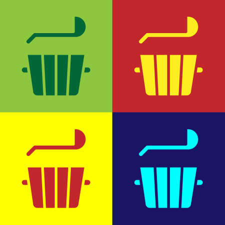 Pop art Sauna bucket and ladle icon isolated on color background. Vector 일러스트